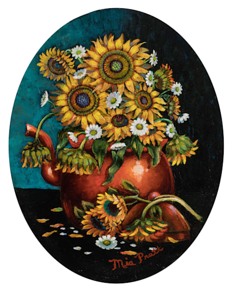 Sunflowers And Daisies In Copper Pot Art | miaprattfineart.com