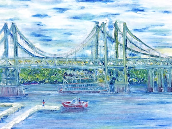 A Painting of the I74 Bridge Along the Mississippi River