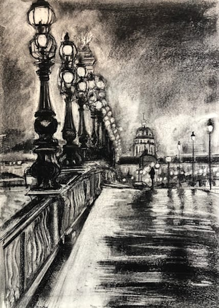 """Paris Evening Glow"" charcoal drawing on 20x14"" on Strathmore paper by Monique Sarkessian with a beautiful woman walking on the bridge at night."