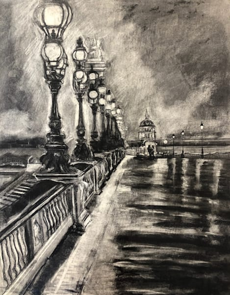 """Paris Dreams 2"" charcoal drawing on 30x24"" on Strathmore paper by Monique Sarkessian with a romantic couple walking on the bridge at night."