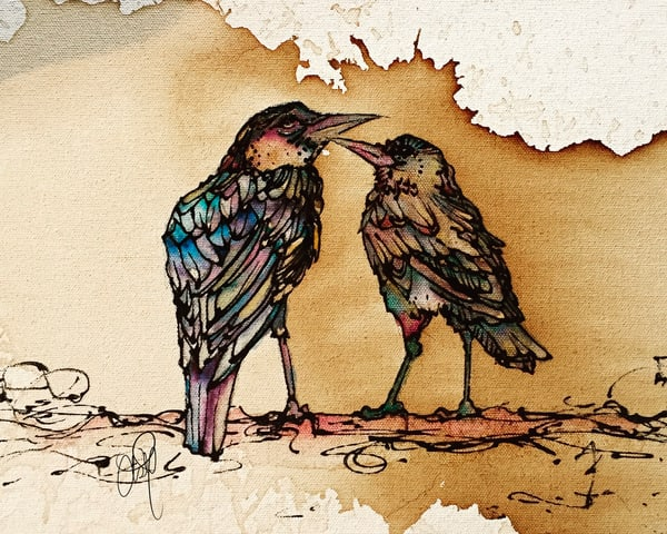 Grackle Bird Love Coffee and Watercolor Art