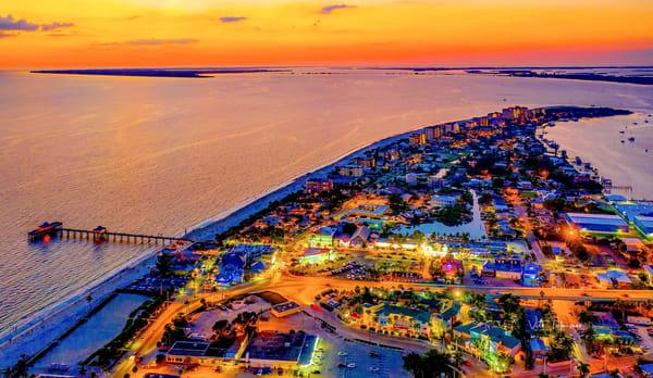 Ft Myers Beach Aerial Dusk1 Florida Photography Art | vitopalmisano