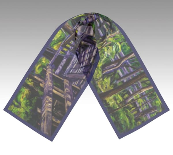 100% silk scarf featuring art by Janet Jardine, Illumination at Crawford Lake Conservation Area; 10 x 45 inches, 16 x 72 inches