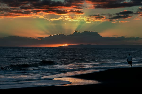 Green Flash Sunset Over Niihau Photography Art | Ed Sancious - Stillness In Change
