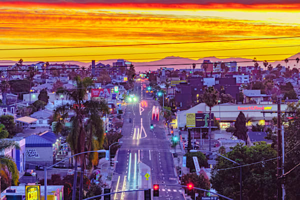University Avenue, San Diego Sunrise Fine Art Print by McClean Photography