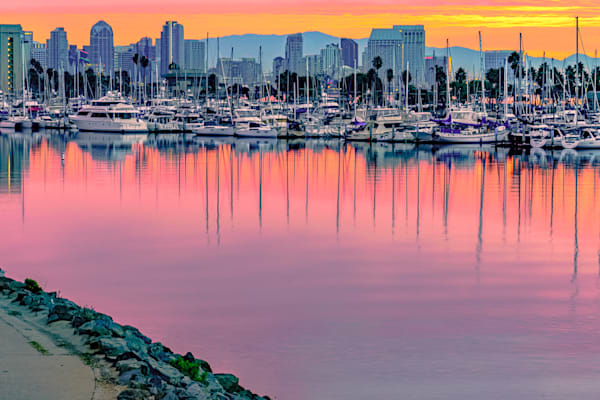 Harbor Drive, San Diego Pedestrian Bridge Sunrise Fine Art Print by McClean Photography