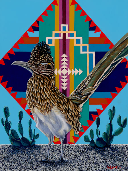 Road runner paintings by John R. Lowery, available as art prints.