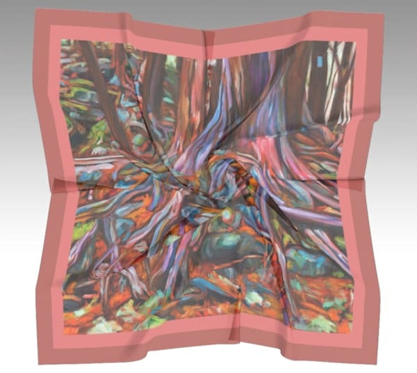 Resilience: square, 100% silk scarf featuring original art by Janet Jardine: cedar roots at Hilton Falls Conservation Area; 26 x 26 inches, 36 x 36 inches, 50 x 50 inches
