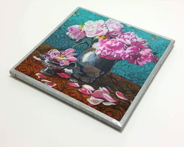 Coaster (Hand Made)   Peonies In Silver Jar I | smalljoysstudio