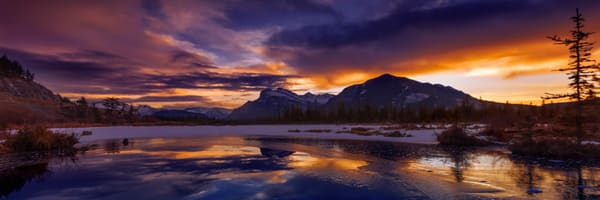 Rundle Mtn. and the Vermilion Lakes in Banff. Canadian Rockies|Rocky Mountains|
