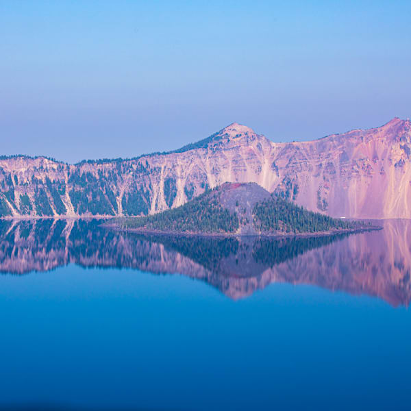 Gift, tote bag, pillow of square image of Crater Lake with Mt Mazama volcano reflecting in the water by Amy Hart