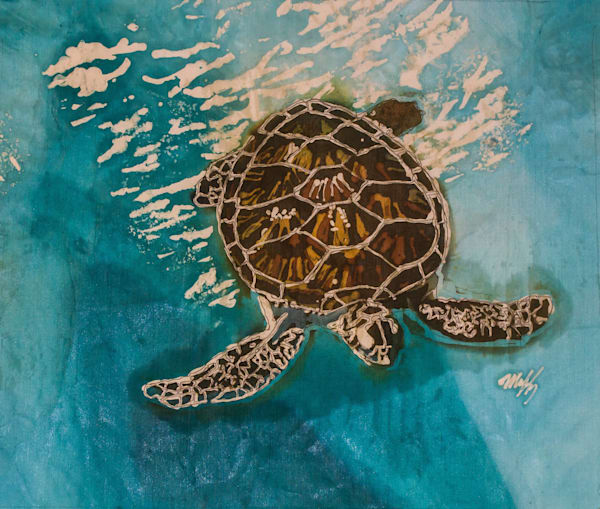 This original design of a Green Sea Turtle by artist Muffy Clark Gill is reproduced from an original batik painting.
