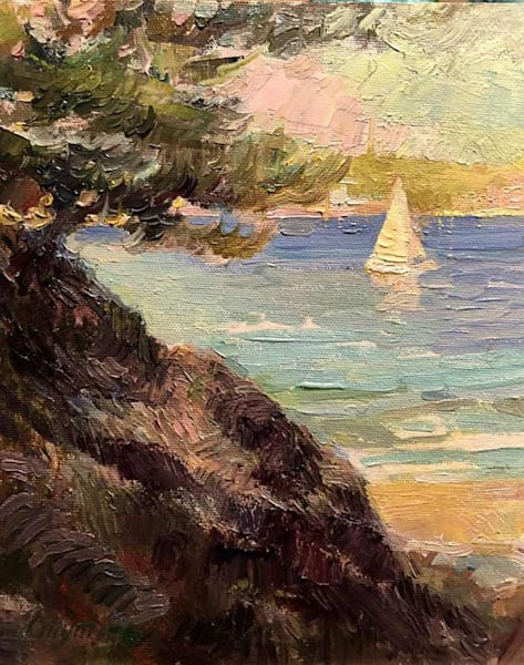 Sailboat In Cap Ferrat Art | Fountainhead Gallery