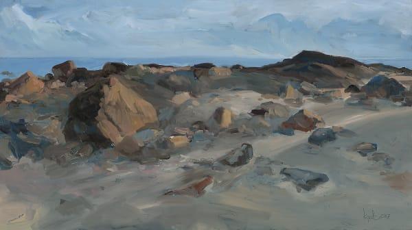 Elephant Rock Beach Study. Original oil painting on panel by Kim Gatesman.