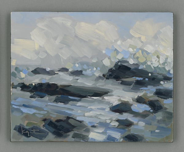 """Number 18 in the """"Dissolving Into Seafoam"""" series by Kim Gatesman. Original oil paintings on panel."""