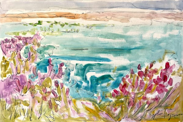 Oversize Watercolor Landscape Painting, Original Art by Dorothy Fagan