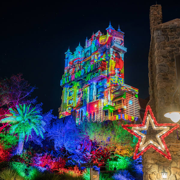 Colorful Christmas At The Hollywood Tower Photography Art | William Drew Photography