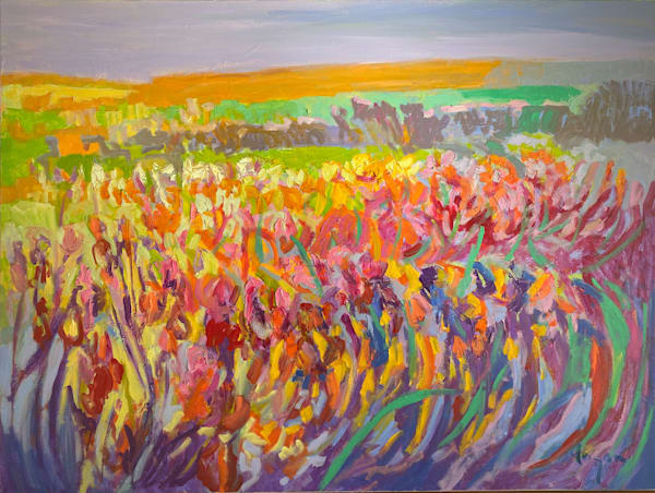 Large Abstract Floral Oil Paintings  by Dorothy Fagan