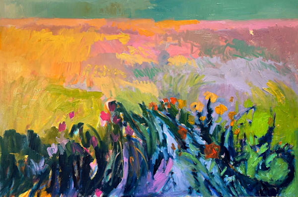 Oversize Abstract Landscape Painting, Original Oil by Dorothy Fagan