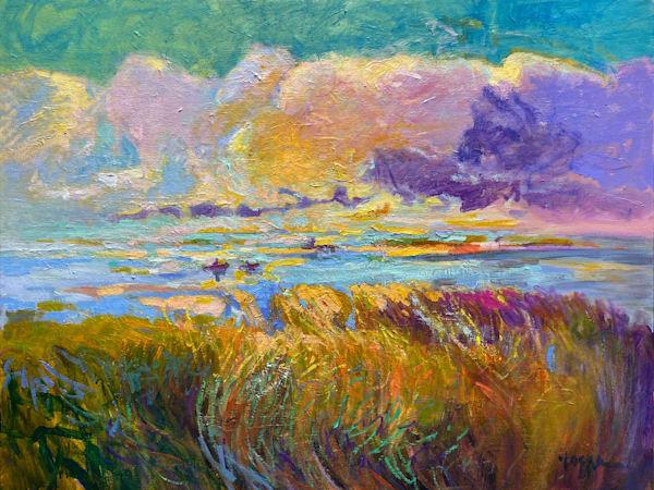 Beautiful Coastal Marsh Oil Painting, Original Art by Dorothy Fagan