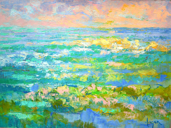 Emerald Green Turquoise Ocean Oil Painting by Dorothy Fagan