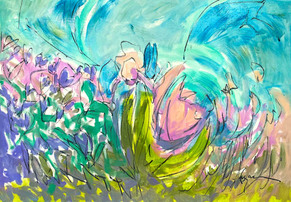 Oversize Abstract Garden Painting, Original Art by Dorothy Fagan