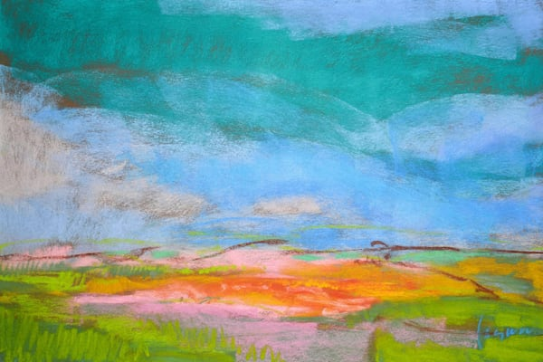 Original Pastel Painting Turquoise Sky by Dorothy Fagan