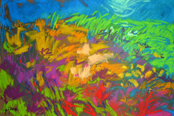 Abstract Wildflower pastel Painting, Original Art by Dorothy Fagan