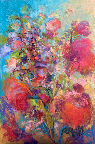 Beautiful Red Hollyhocks Pastel Painting, Original Art by Dorothy Fagan