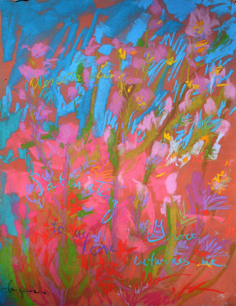 Abstract Wildflowers Original Pastel Painting by Dorothy Fagan