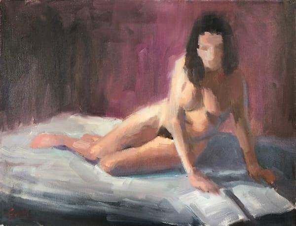 Figure Reading On Bed Art | Adam Benet Shaw Studios