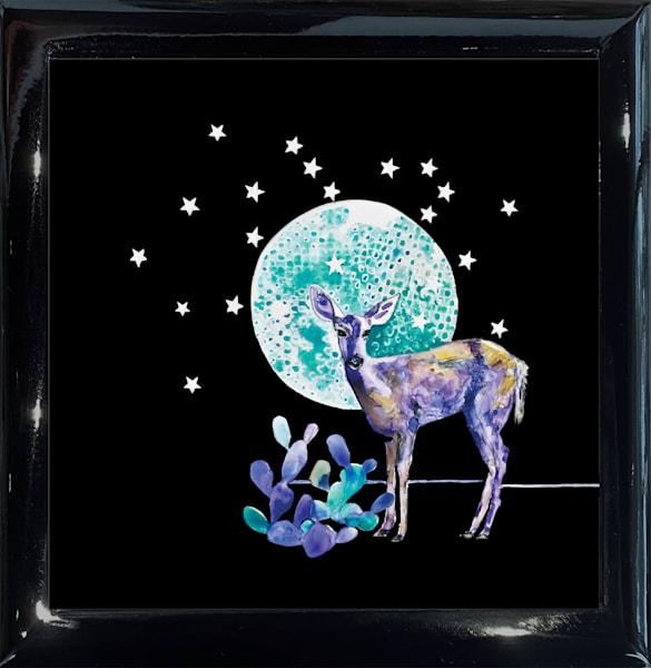 Deer Prudence Square Black Keepsake Box | Madaras Gallery