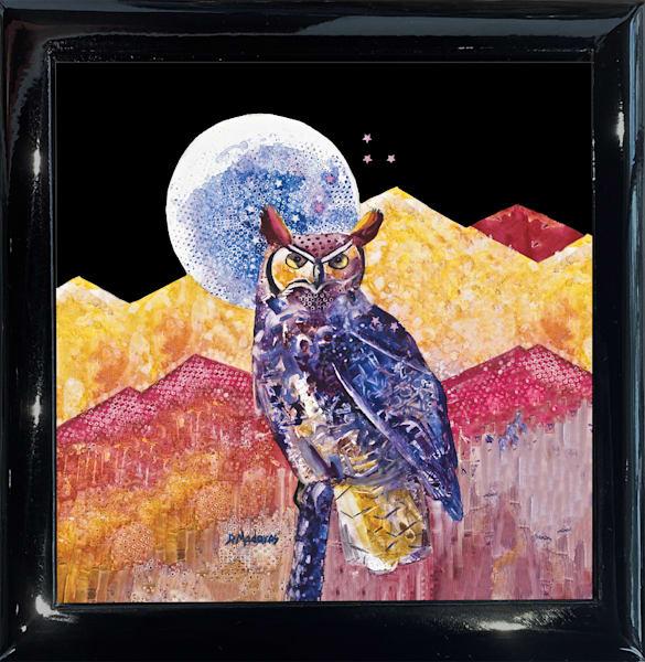 Night Owl Square Black Wooden Keepsake Box | Madaras Gallery