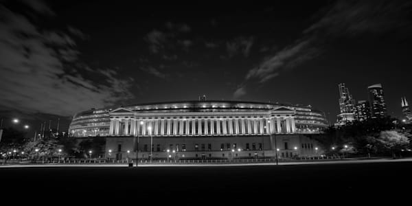 Soldier Field Skyline Black And White Photography Art | William Drew Photography