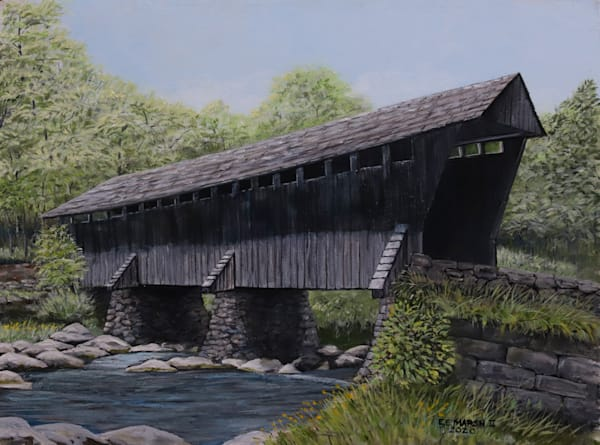 Grey Midwest Covered Bridge Art | Skip Marsh Art
