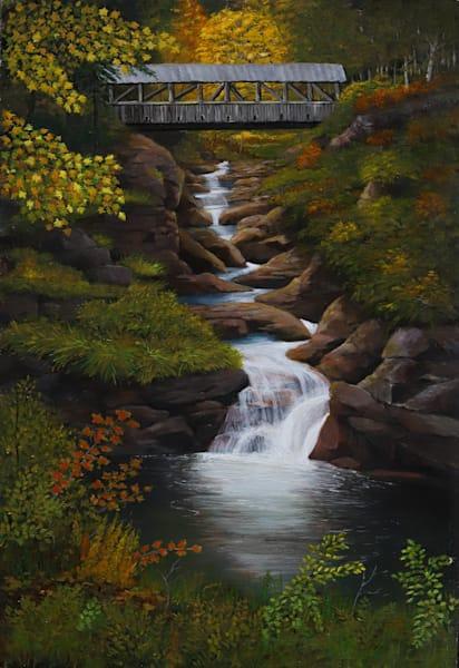 Autumn Glow Covered Bridge Art | Skip Marsh Art