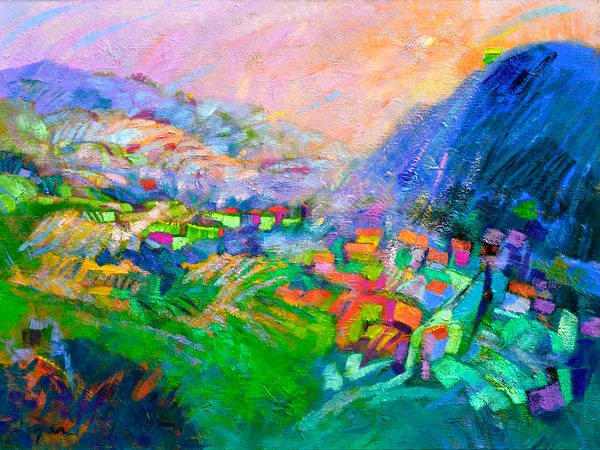 Oversize Mountain Landscape Art, Embraced by Dorothy Fagan