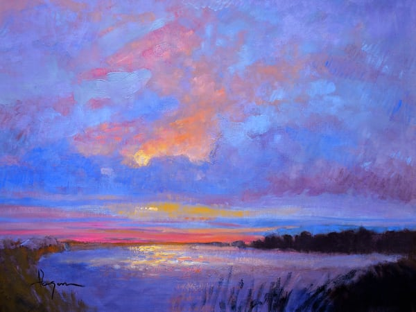 Oversize Blue Marsh Painting, Silver Lining by Dorothy Fagan