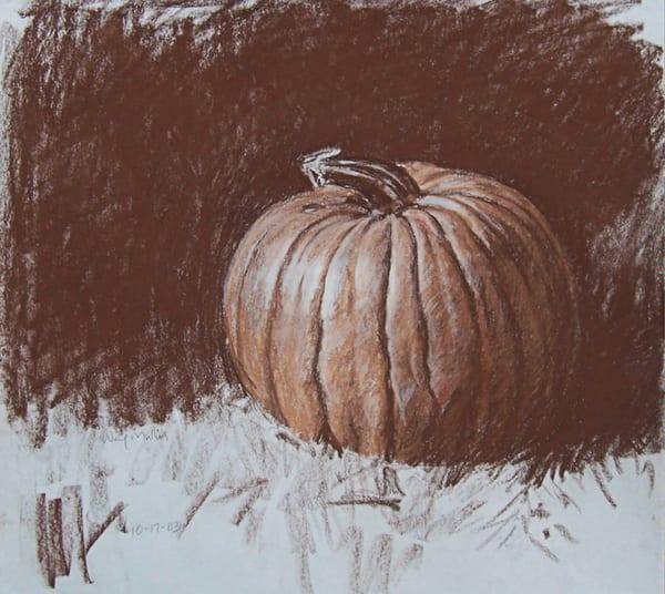 Pumpkin In The Grass Art | Waif Mullins Art