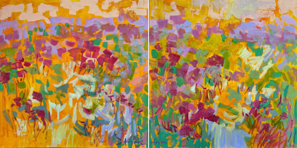 Colorful Pink Yellow Abstract Painting, Diptych Art by Dorothy Fagan