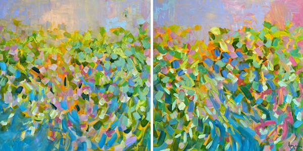 Blue Green Abstract Painting, Canvas Wall Art by Dorothy Fagan
