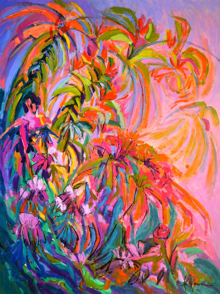 Oversize Floral Abstract Wall Art by Dorothy Fagan