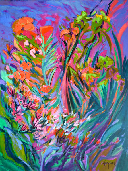 Oversize Abstract Floral Painting Print by Dorothy Fagan
