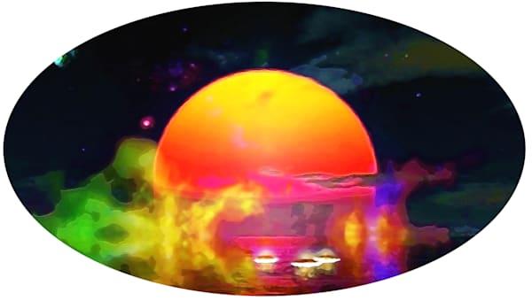 Merch Auto 7 Orange Moon Rise Art | Don White-Art Dreamer