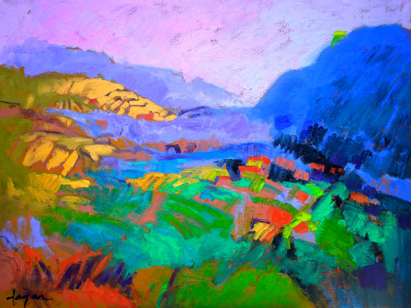 Oversize Mountain Landscape Art, Canvas Painting by Dorothy Fagan