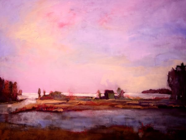 Oversize Marsh Painting Canvas Art by  Dorothy Fagan