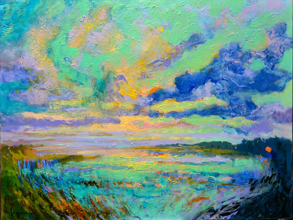 Tranquil Sunset Landscape Painting, Canvas Fine Art by Dorothy Fagan