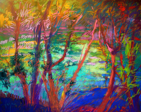 River Woodland Landscape Painting, Canvas Art by Dorothy Fagan