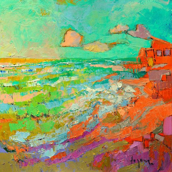 Tropical Beach Painting, Canvas Art Print by Dorothy Fagan