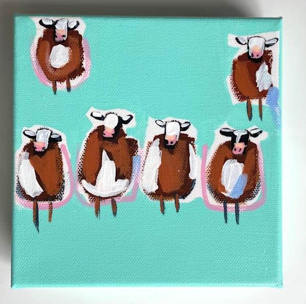 Mini Cows Teal    Sold | Lesli DeVito